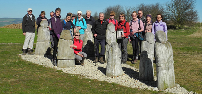 Leven Walking Club on Knapton Brow (Yorkshire Wolds)/from a photo by Arnold Underwood/Mar 16th 2014