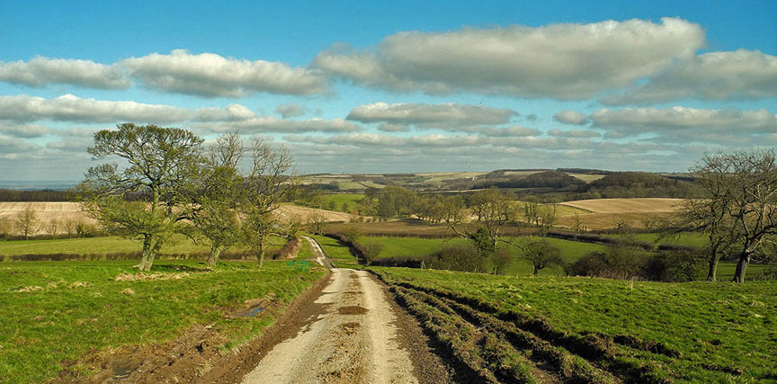 Heading down Luddith Road towards North Grimston, Yorkshire Wolds/Photo © Arnold Underwood, Feb 25th 2018