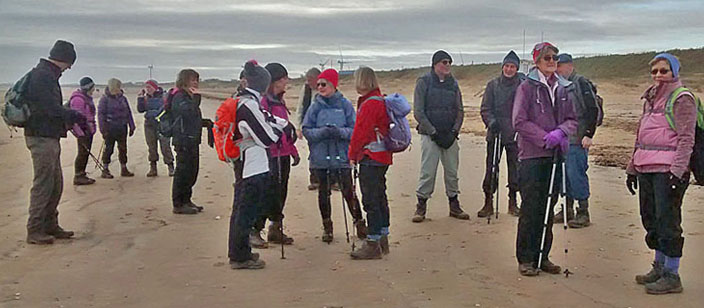 Hornsea District Walking Club on Fraisthorpe Beach/photo by Arnold Underwood/Jan 2019