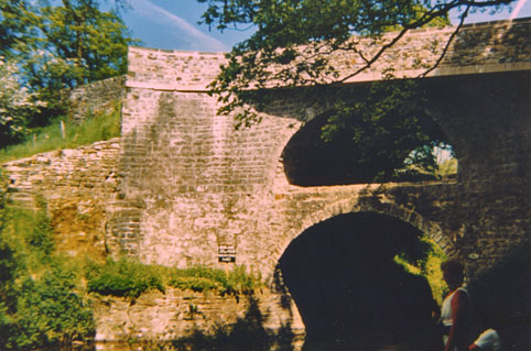 The double-bridge carrying the A59 over the Leeds & Liverpool Canal