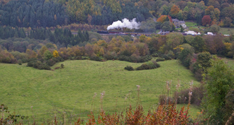 Levisham Station from Surprise View on Newton Banks/from a photo by Arnold Underwood/Oct 2009