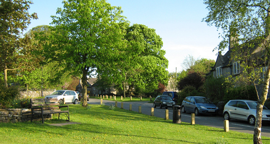Alstonefield village green/from a photo by Arnold Underwood/May 2010