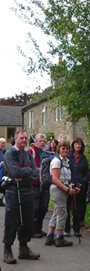 Leven Walking Club in Abney village/from a photo by Jyl Midgley/Sept 2007