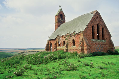 The ruined church at the head of Cottam Well Dale/photo by Arnold Underwood/Sept 2002