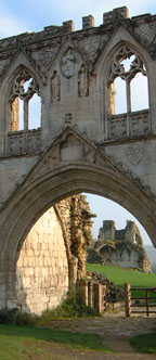 The entrance to the ruins of Kirkham Abbey /from a photo by Arnold Underwood/Oct 2004