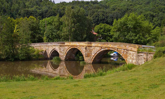 Kirkham Bridge over the River Derwent/photo by Arnold Underwood, July 2009