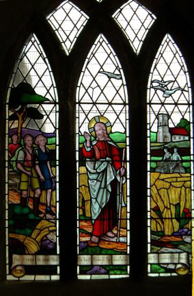 The stained glass window in the Rambler's Church/from a photo by Arnold Underwood, June 2003